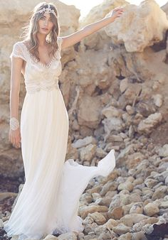 2017 Bohemia Beach Wedding Dress Sexy Deep V Backless Lace Beading Cap Sleeve Vestido De Noiva 2017 Boho Bridal Dresses