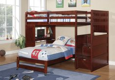 Twin Bunk Bed with Desk Underneath, Stairs, Storage Drawers, and Shelves