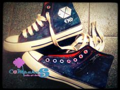 hand-painted shoes Galaxy EXO #converse #CHS #Sneakers #galaxy #Black #Vanillasosrt
