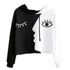cc1cf4ce3ff Women s Long Sleeve Cropped Two-Faces Hoodie