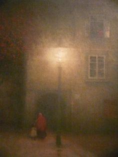 Detail, Night in Old Prague - Jakub Schikaneder Jakub Schikaneder, Classical Realism, Sun And Stars, Jewish Art, Nocturne, Dusk, Painters, Light In The Dark, Painting & Drawing