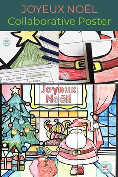 French Christmas collaborative poster: create a bulletin board your co-workers will compliment and your students will love! Core French, French Class, French Lessons, New Years Activities, Christmas Activities, Christmas Crafts, Teacher Resources, Teaching Ideas, French Songs