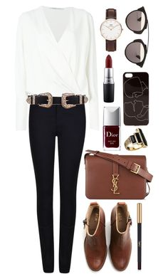 """Untitled #443"" by clary94 ❤ liked on Polyvore featuring Armani Jeans, Agnona, Acne Studios, Yves Saint Laurent, Christian Dior, B-Low the Belt, Zero Gravity, MAC Cosmetics, Daniel Wellington and House of Harlow 1960"