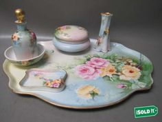 8pc-ANTIQUE-RARE-T-V-LIMOGES-HAND-PAINTED-PINK-YELLOW-ROSE-SIGNED-VANITY-SET