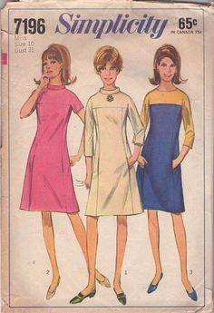 MOMSPatterns Vintage Sewing Patterns - Simplicity 7196 Vintage 60's Sewing Pattern FAB Mod Space Age Contrast Color Block Sleeves in One Party Dress, Hidden Front Pockets