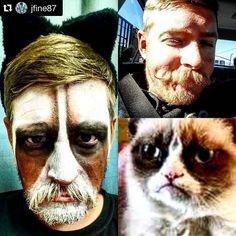@jfine87 #CullmanHalloween #HalloweenMakeup #Makeup  Big shout out to @lisayers for doing my #grumpycat makeup for #halloween also final week of the #mustache