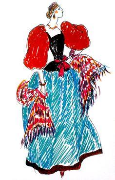 tissu imprimé slave ou russe fondation Yves St Laurent croquis_costume_populaire_r