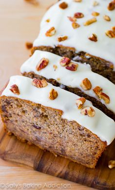 An easy recipe for best-ever banana bread with cream cheese frosting.