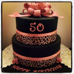 Leopard/cheetah print birthday cake. For more pics of our work, visit our website: www.simplysweetonline.com