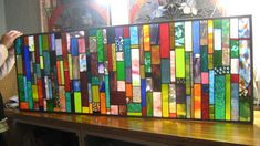 stained glass    Ocean Sea Breeze Colorful Strips transom panel  CUSTOM ORDERED