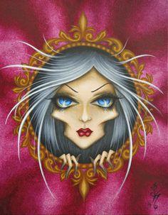 8 x 10 imprimer Fantasy Lowbrow femme visage fille filigrane ornées Frame rouge ventru surréalisme Pop Art Reproduction par Natalie VonRaven
