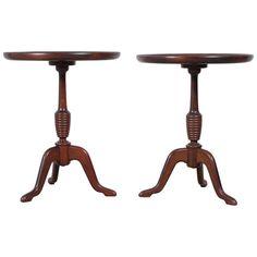 Vintage Set of Round Antique Danish Side Tables   1stdibs.com