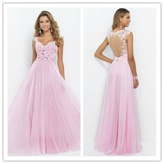 V Neck A Line Princess  Tulle Chiffon With Beads And Applique Prom Dress