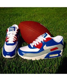 Nike Air Max 90 Custom New York Giants Blue Red White Shoes