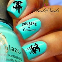 Nail Art Nail Wrap Water Transfer Decal Black 'Cocaine & Caviar'
