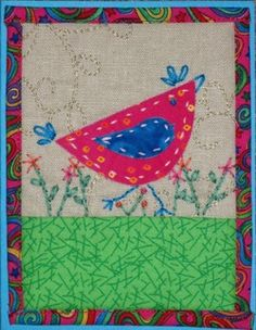 Quilted chicken card