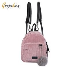 26cd94c752 Casual Mini Corduroy Fabric Backpack with Fluffy Ball for Women