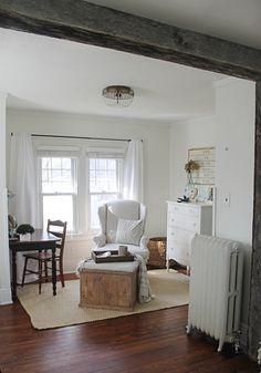 Sitting Area off Farmhouse Master Bedroom - Curtains & Radiators!