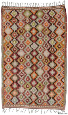 Vintage hand-woven Antalya kilim rug around 50 years old and in very good condition. Antalya is a lovely sunny city on the Mediterranean coast of southwestern Turkey.