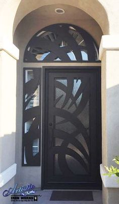 Wrought Iron and Glass Front Door with arched and side window guard - Model: Tunisia GE0212