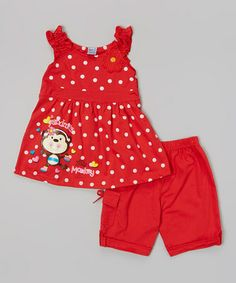 Look what I found on #zulily! Red Monkey Polka Dot Top & Shorts - Infant, Toddler & Girls #zulilyfinds