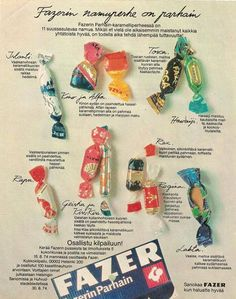 Pupuleipomo: Kaupoista kadonneet herkut - Fazerin Parhain - filled sugar candy - the filling was(is) soft - half of these flavors aren't produced anymore. History Of Finland, Retro Candy, Old Commercials, Good Old Times, My Childhood Memories, Vintage Ads, Nostalgia, Kids, Honey Dukes