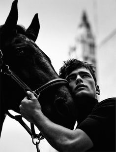Portrait Photography Men, Equine Photography, Animal Photography, Sean O'pry, Journey To The West, Men Photoshoot, Horse Portrait, Black And White Aesthetic, Poses For Men