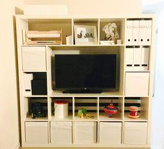 IKEA hack 5 x 5 expedit / Kallax shelves minus a few pieces