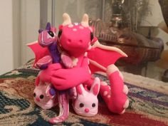 Hot Pink and Glow in the dark Night Night Dragon by TheDragonsMark