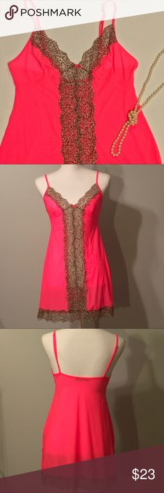 """Victoria's Secret slip Hot pink Victoria's Secret baby doll slip with animal print lace detail. Sexy side slits. Adjustable straps. EUC, excellent used condition. Size small. 15"""" bust, 28 1/2"""" length, 6"""" side slits. Victoria's Secret Intimates & Sleepwear Chemises & Slips"""