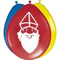 Sint ballonnen 8 stuks  Sinterklaas ballonnen 8 stuks. Set van acht gekleurde ballonnen met Sinterklaas print. De opgeblazen ballonnen zijn ongeveer 27 cm groot per stuk.  EUR 2.75  Meer informatie