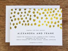 This invitation card template sparkles with a golden hand drawn dots. The gold effect works on your home printer. Just download the PDF template, enter your invitation text, print and cut. Try before you buy by downloading a sample template below under the 'Samples' tab.