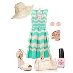 A fashion look from April 2013 featuring green dress, wedge sandals and bowling bags. Browse and shop related looks.