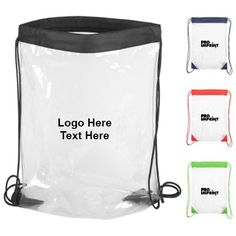 "Promotional Clear Drawstring Backpacks : Available Colors: Black/Clear, Blue/Clear, Green/Clear, Red/Clear Product Size: 13""w x 16""h Imprint Area: Screen: 5""w x 5""h  - One color imprint only Carton Weight: 22 lbs. #customcleardrawstringbags #promotionalproduct #stadiumbags"
