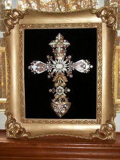 Vintage Milk Glass Rhinestone Jewelry Christmas Tree Framed Cross Art