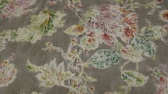 "MATERIAL THINGS           Designer Fabric, P. Kaufmann ""Millie"" Mushroom vintage-finished Jacobean floral #PKausfmann #fabric #floral"