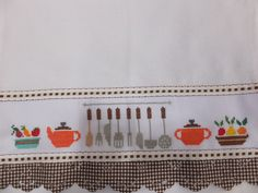 Cross Stitch, Dish Towels, Chickens And Roosters, Curtains For Kitchen, Cross Stitch Designs, Cross Stitch Alphabet, Cross Stitch Kitchen, Cross Stitch Pictures, Crochet Potholders