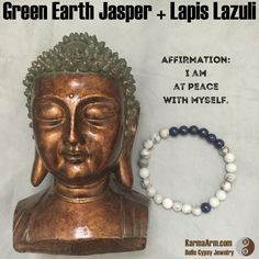 AFFIRMATION:  I am at peace with myself.  HARMONY: Green Earth Jasper + Lapis Lazuli Yoga Mala Bead Bracelet  #womens #healing #spiritual #meditation #crystal #crystals #love #style #luck #lucky #artisan #handmade #jewelry #artisan #OOAK