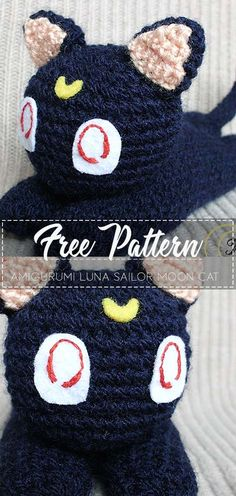 Amigurumi Luna Sailor Moon cat - Free Pattern Go to the free pattern Here Quick Crochet Patterns, Diy Crochet, Crochet Crafts, Crochet Baby, Crochet Projects, Knit Patterns, Sailor Moon Crochet, Sailor Moon Cat, Knitted Dolls
