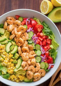 Avocado Shrimp Salad Recipe with cajun shrimp and the best flavors of summer. The cilantro lemon dressing gives this shrimp salad incredible fresh flavor! I would omit corn and make low carb. My new Pin Easy-Avocado-Shrimp-Salad-Recipe.jpg pinned on Salad Shrimp Avocado Salad, Shrimp Salad Recipes, Best Salad Recipes, Salad Recipes Video, Summer Salad Recipes, Summer Salads, Seafood Recipes, Cooking Recipes, Salad With Shrimp