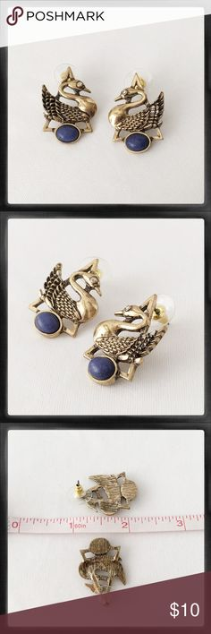 Art Deco Style Post Earrings Bird Blue Stone *New* Interesting earrings, new. See photo for size and other details. Jewelry Earrings
