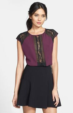 """$68.00 on @Keaton Row website, arranged with full of fashion... click to see it in action. Romantic lace and mesh insets lend a little sultry style to a woven chiffon top.  25"""" to shortest point"""