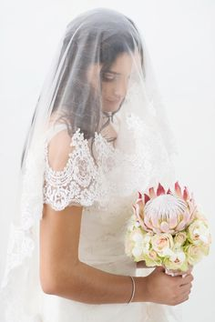 Lace Veil and Protea Bouquet // Pink and Grey Lace Filled South African Wedding // Stella Uys Photography Protea Bouquet, South African Weddings, Popular Flowers, Lace Veils, African Fashion Dresses, Brides And Bridesmaids, Here Comes The Bride, Bridal Portraits, Black Weddings