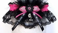 Personalized Prom Garters in 175 colors to match your Prom dress and offered on white black or ivory lace. Imprinted Ribbon Tails with your names & event or add a Kiss charm to make your garter special. Style # PROM-B Visit: www.garters.com/page37b.htm