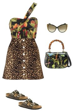 """jaguar"" by camilamairams-1 on Polyvore featuring moda, Isolda, Miss Selfridge, Roberto Cavalli, Gucci e Birkenstock"