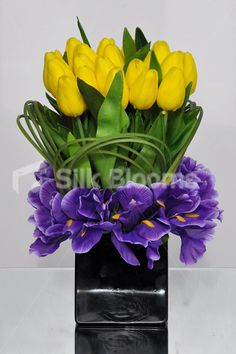 Pali - Table Artificial Yellow Fresh Touch Tulip and Purple Iris Vase Arrangement w/ Foliage and Leaves