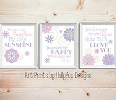 You are My Sunshine My Only Sunshine Set of 3 prints designed in soft pinks, purples, and blues. Colors shown are always completely customizable. Just leave your color selection in the notes to seller box upon checkout! Color matching is available! Each print will measure 8x10 or