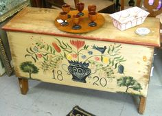 Cute painted trunk and beautiful wooden aperitif cups! http://www.phantasticphinds.com
