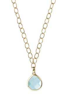 """#Stella & Dot Serenity Small Stone Drop #Necklace $49 - A single hand cut, faceted #aqua teardrop #glass #stone set in hand hammered bezel, adorns an airy 12k #gold plated link #chain.  Necklace measures 19"""".  Lobster clasp.  Lead & nickel safe.  Go to my website www.stelladot.com/denisedaunt to see more Stella & Dot boutique style #jewelry & the matching #earrings to this necklace."""