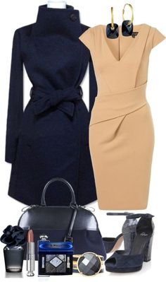 A fashion look from January 2013 featuring v neckline dress, long coat and navy shoes. Browse and shop related looks. Polyvore Outfits, Komplette Outfits, Dressy Outfits, Fashion Outfits, Diva Fashion, Work Fashion, Fashion Looks, Womens Fashion, Glamour